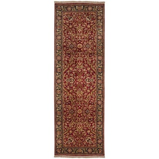 Hand-knotted Red Maine Ave Semi-Worsted New Zealand Wool Rug (2'6 x 8')