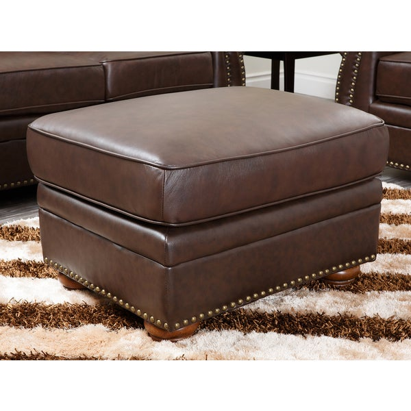 Abbyson Richfield Top Grain Leather Ottoman - Abbyson Richfield Top Grain Leather Ottoman - Free Shipping Today
