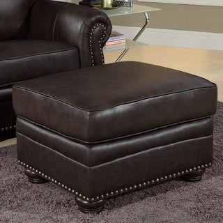 Abbyson Richfield Top Grain Leather Ottoman