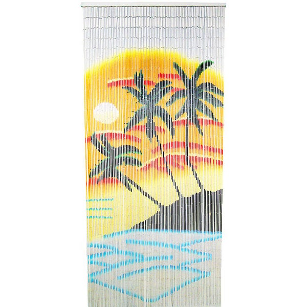 Handcrafted Orange and Blue Palm Bamboo Curtain (Vietnam)