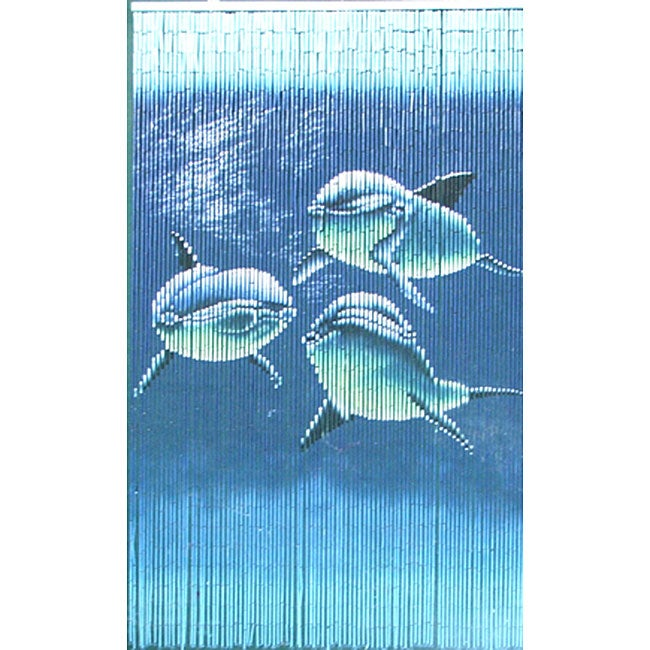 Tri Dolphins Painted Bamboo Beaded Indoor Curtain from Vietnam