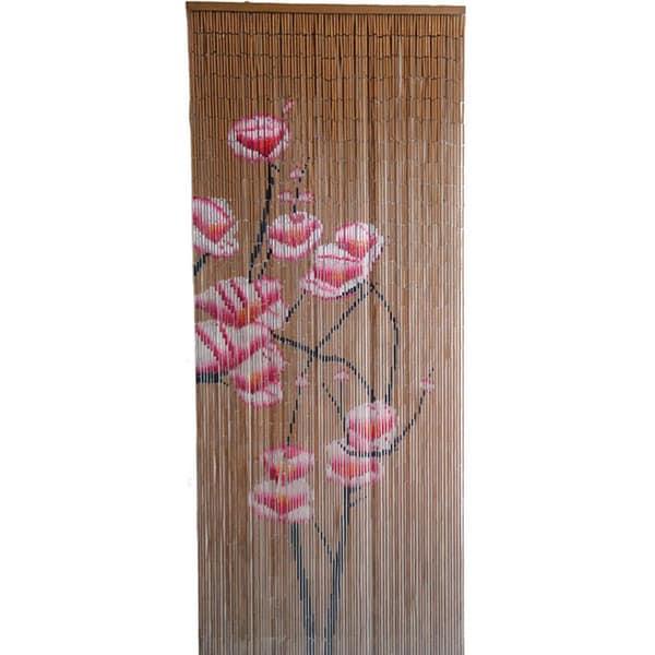 Handmade Pink Flowers Bamboo Curtain (Vietnam)