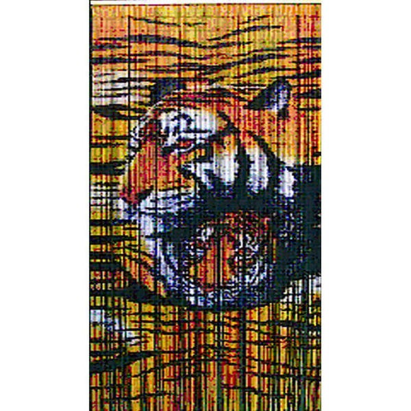 Colorful Indoor Jungle Tigers Painted Bamboo Curtain, Handmade in Vietnam