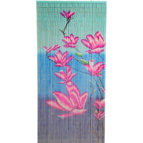 Pink Floral Bamboo Curtain  , Handmade in Vietnam