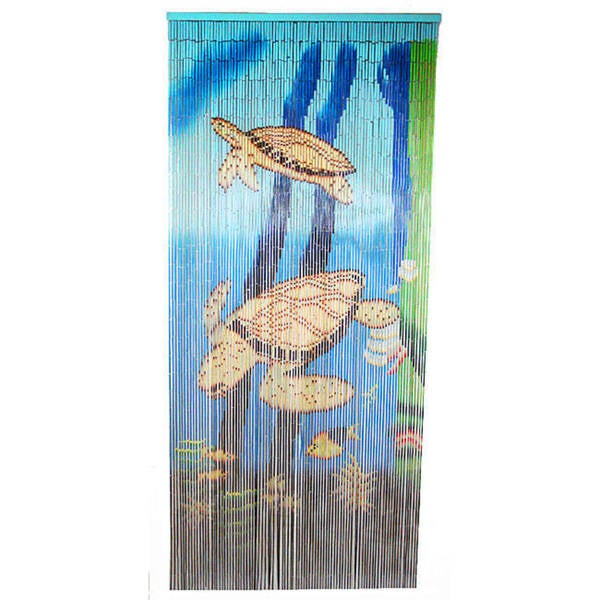 Handcrafted Sea Turtle Scene Painted Bamboo Curtain (Vietnam)