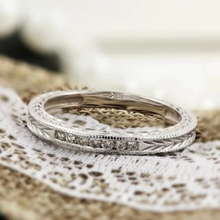 Link to Auriya 10k Gold 1/8ctw Vintage Carved Diamond Wedding Band Similar Items in Rings