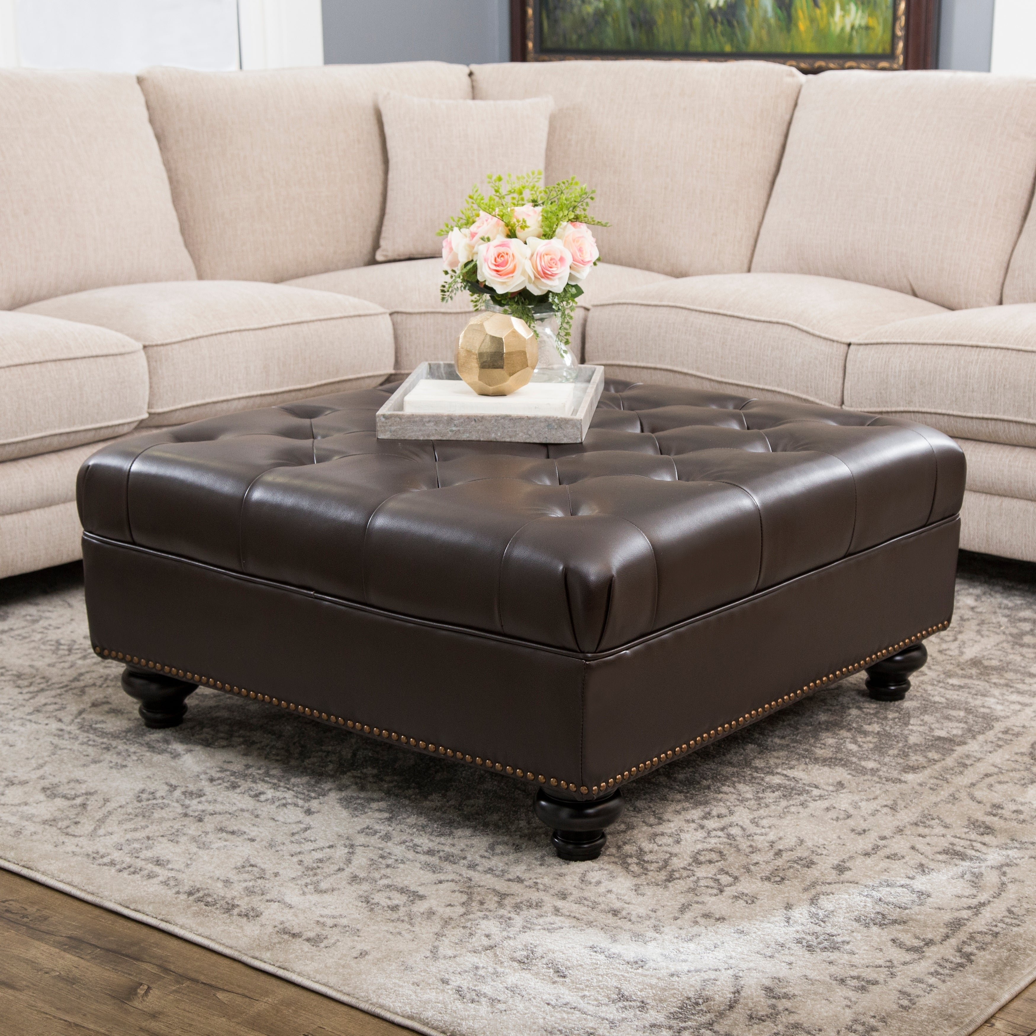 Brilliant Abbyson Frankfurt Tufted Brown Leather Ottoman Machost Co Dining Chair Design Ideas Machostcouk