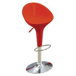 Sybill Adjustable Red Chrome Finish Air Lift Stools (Set of 2)