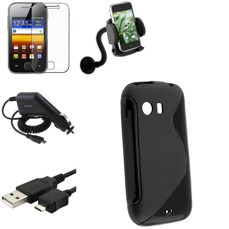 Black Case/ LCD Protector/ Charger/ Holder for Samsung Galaxy Y S5360