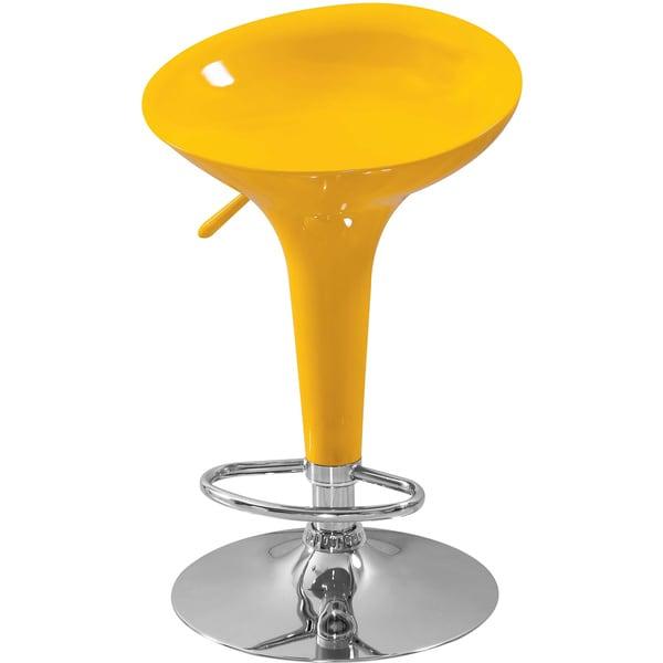 Shop Sybill Adjustable Yellow Chrome Finish Air Lift Stool