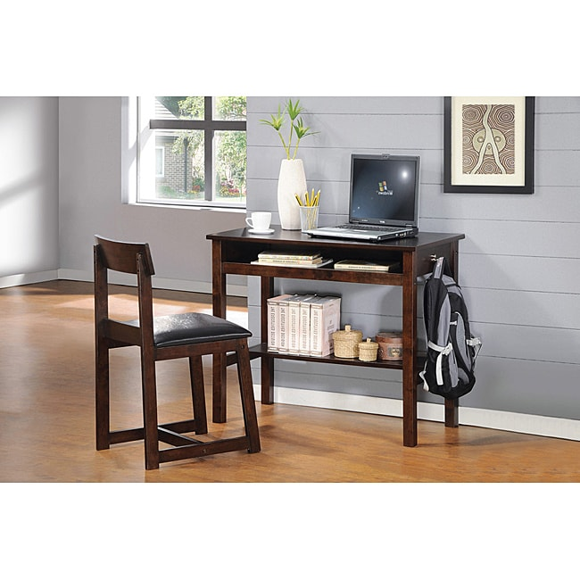 Vester Espresso Finish Desk and Chair Set - Free Shipping Today