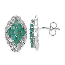 Malaika Sterling Silver Emerald and White Topaz Earrings