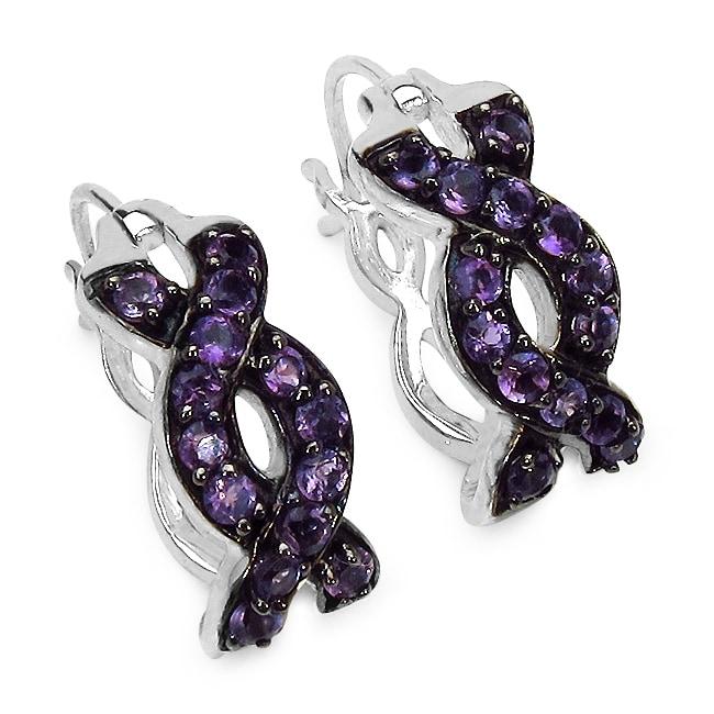 Malaika Sterling Silver Amethyst Earrings