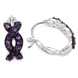Malaika Sterling Silver Amethyst Earrings - Thumbnail 1