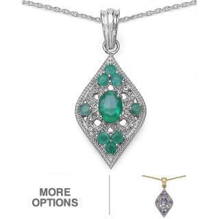 Malaika Sterling Silver Tanzanite or Emerald/ White Topaz Pendant