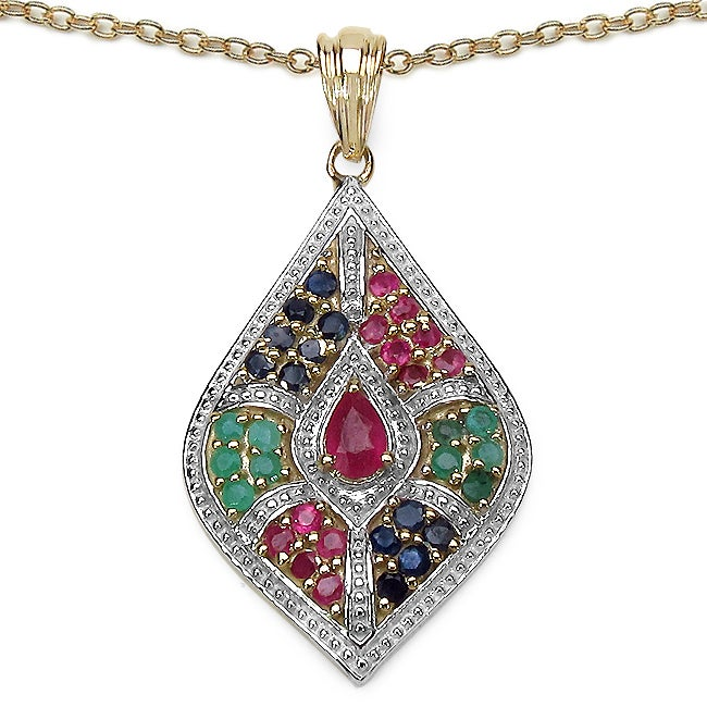 Malaika Sterling Silver Emerald, Ruby and Blue Sapphire Pendant - Thumbnail 0