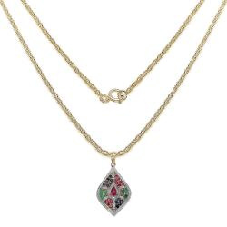 Malaika Sterling Silver Emerald, Ruby and Blue Sapphire Pendant - Thumbnail 1