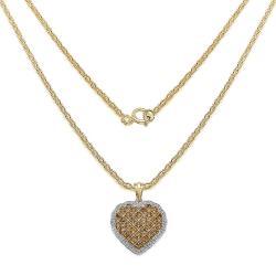 Malaika Yellow Gold over Silver Citrine Heart Pendant - Thumbnail 1