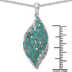 Malaika Sterling Silver Emerald and Diamond Pendant