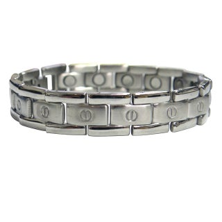 Magnetic Therapy Flat Screwhead Stainless Steel Magnetic Bracelet (Option: Silver)