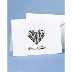 Hortense B. Hewitt Damask Heart Thank You Cards