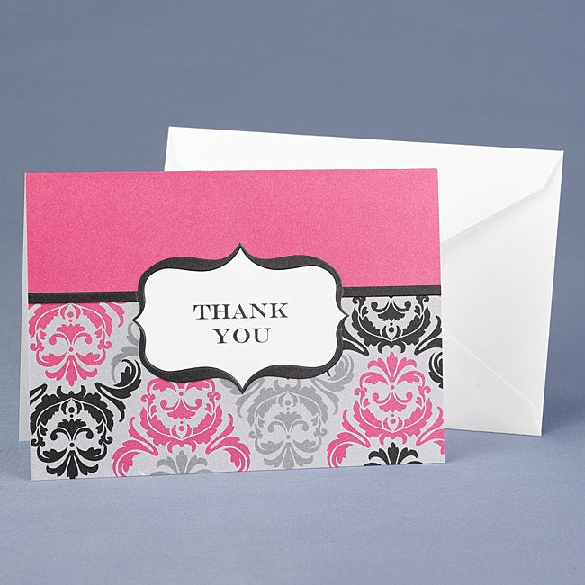 Hortense B. Hewitt Black and Fuchsia Damask and Crest Thank You
