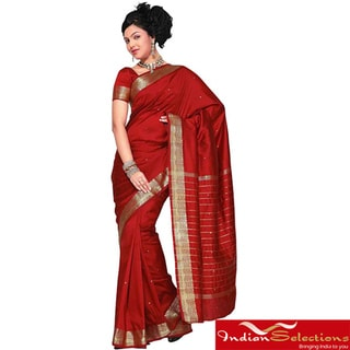 Maroon Fabric Sari / Saree with Golden Border (India)