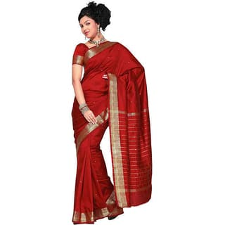 Handmade Maroon Fabric Sari / Saree with Golden Border (India)|https://ak1.ostkcdn.com/images/products/6773444/P14313337.jpg?impolicy=medium