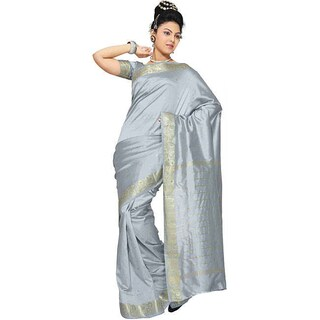 Handmade Gray Fabric Sari / Saree with Golden Border (India)