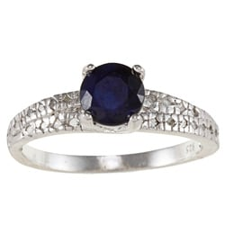 Viducci Sterling Silver Blue Round Sapphire and 1/3ct TDW Diamond Ring (G-H, I1-I2)