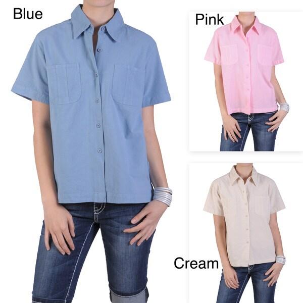 Tressa Designs Women's Pointed Collar Button-up Camp Shirt