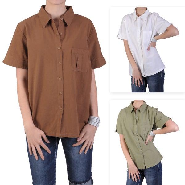Tressa Designs Women's Point Collar Button-up Camp Shirt
