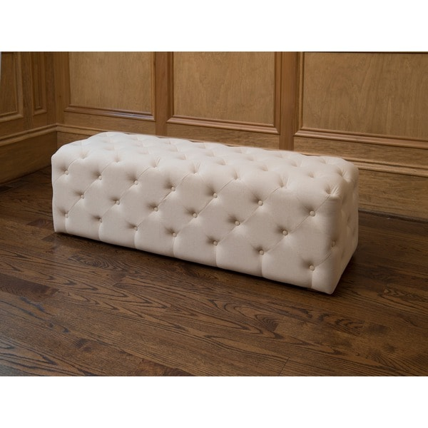 Juliette de Creme Tufted Cubed Bench