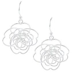La Preciosa Sterling Silver Open Wire Flower Earrings