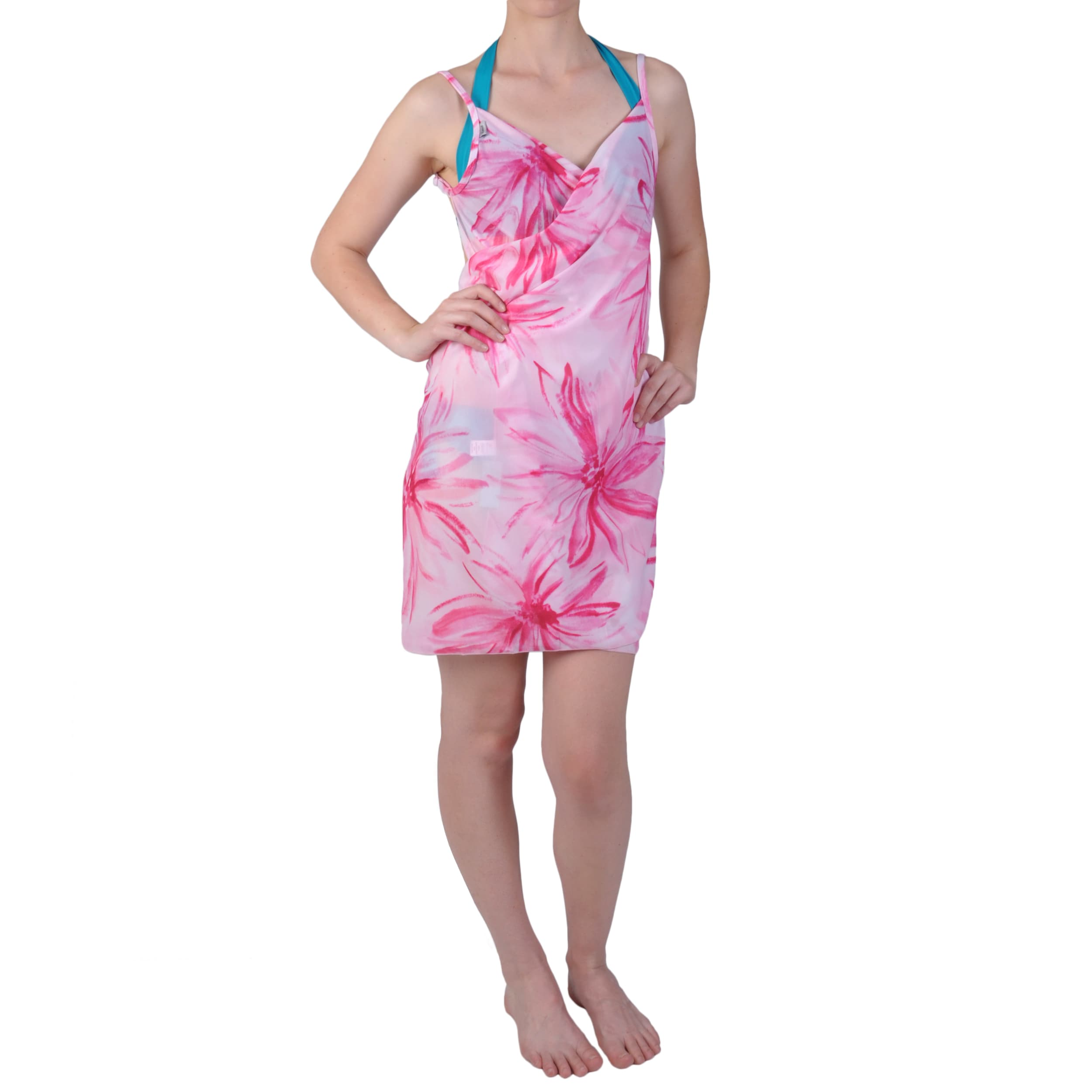 Saress Women's Casual Beach Wrap Dress with Floral Print
