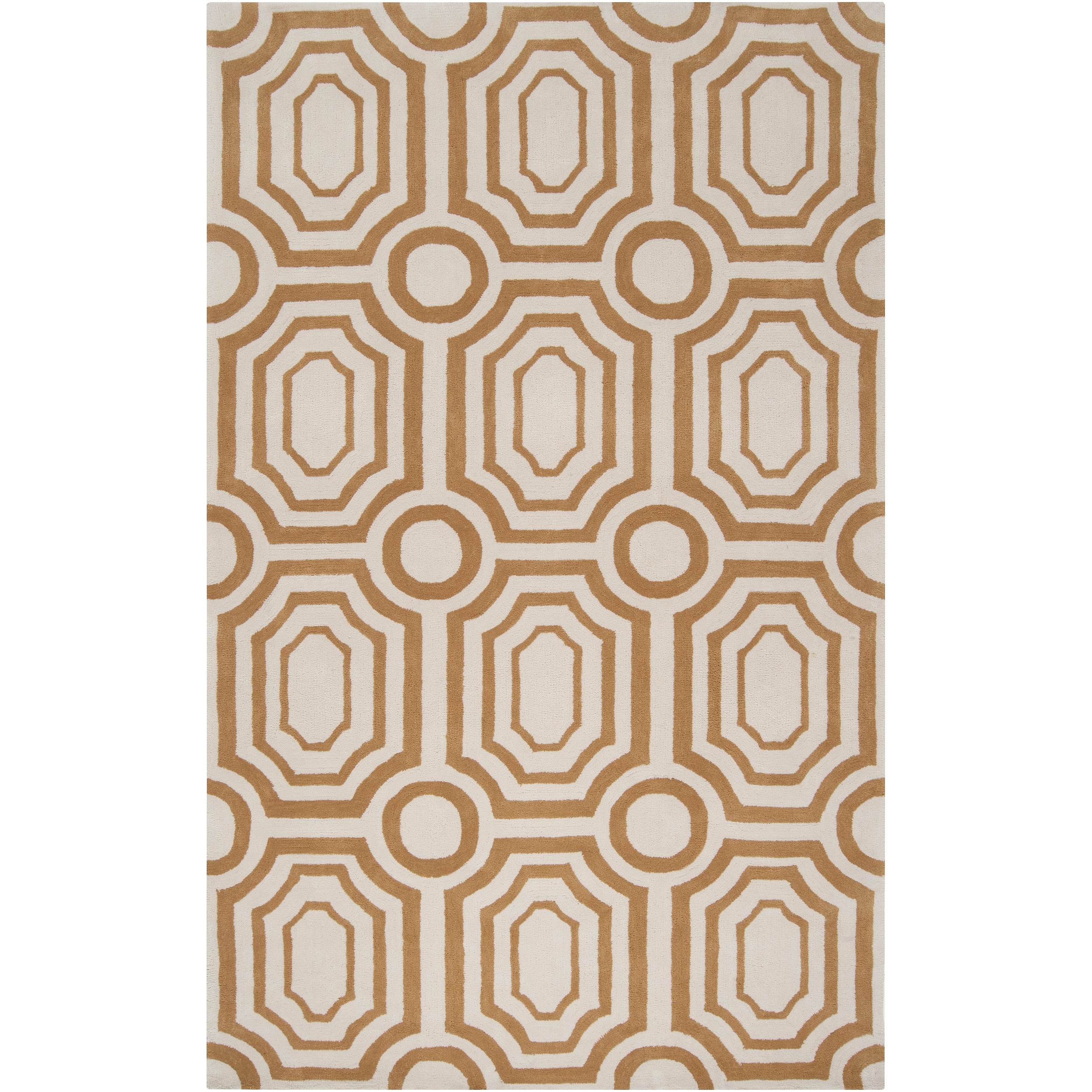 Hand-tufted Gold Hudson Park Polyester Rug (5' x 7'6)