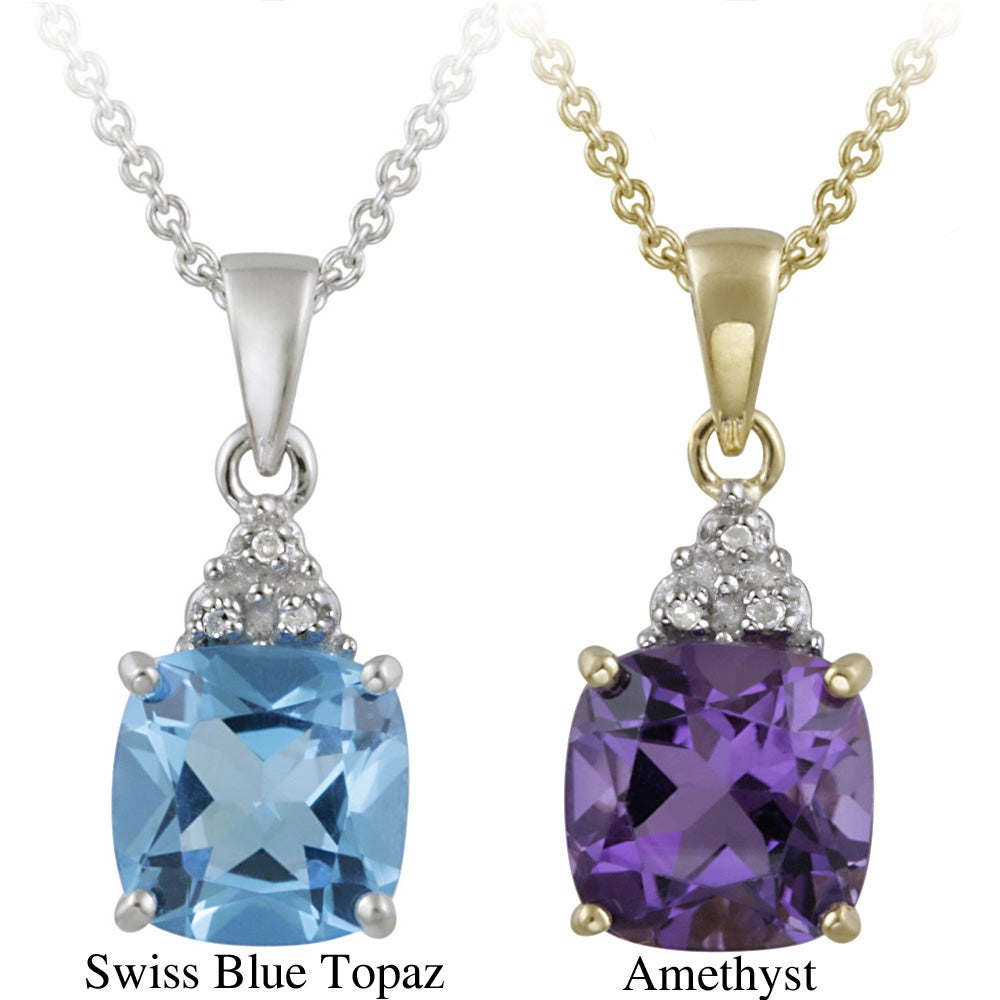 Glitzy Rocks 10k Gold Diamond and Gemstone Square Necklace