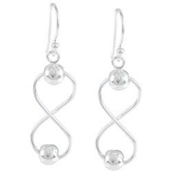 La Preciosa Sterling Silver Infinity Bead Earrings