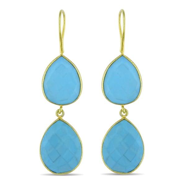Miadora 22k Yellow Gold Plated Silver 35ct TGW Turquoise Dangle Earrings
