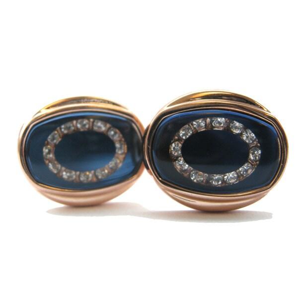 Gianfranco Ruffini High-polish Rose-goldtone and Crystal Cuff Links
