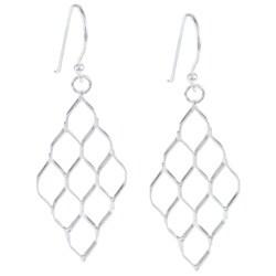La Preciosa Sterling Silver Diamond Shaped Open Earrings
