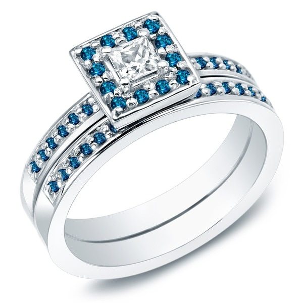 Auriya 14k Gold 2/3ct TDW Princess-Cut Blue and White Diamond Bridal Ring Set