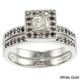 Auriya 14k Gold 2/3ct TDW Black/ White Diamond Bridal Ring Set (H-I, I1-I2)
