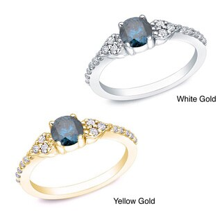 Auriya 14k Gold 2/3ct TDW Round Blue and White Diamond Engagement Ring