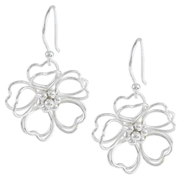 La Preciosa Sterling Silver Double Heart Petal Open Wire Flower Earrings