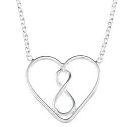La Preciosa Sterling Silver Open Heart Necklace (18-inch)