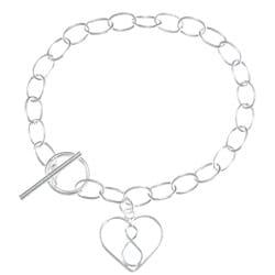 La Preciosa Sterling Silver Open Heart with Infinity Symbol Toggle Bracelet