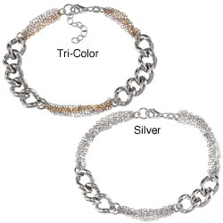 La Preciosa Sterling Silver Curb Link and Cable Chain Bracelet (7-inch)