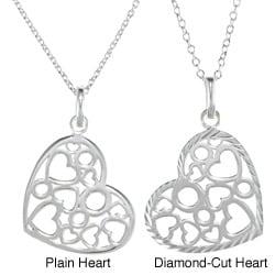 La Preciosa Sterling Silver Heart with Hearts and Circles Inside Necklace