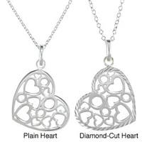 La Preciosa Sterling Silver Heart with Hearts and Circles Inside Necklace